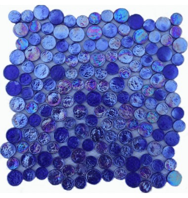 Cobalt Blue Irredescent Reflection Rippled Glass Mosaic Circle Tile Mesh Backed Sheet