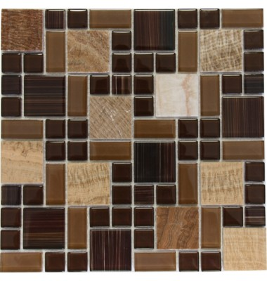 Brown Marble Mixed with Glossy Chocolate Glass Mosaic Tile Mesh Backed Sheet