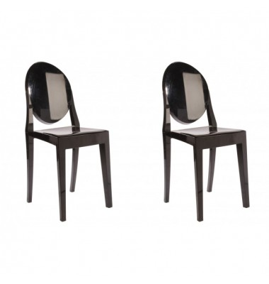 2 X Victoria Style Black Color Ghost Dining Chair