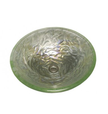 16-1/2 Inch Pearl Lime Design Glass Countertop Bathroom Lavatory Vessel Sink