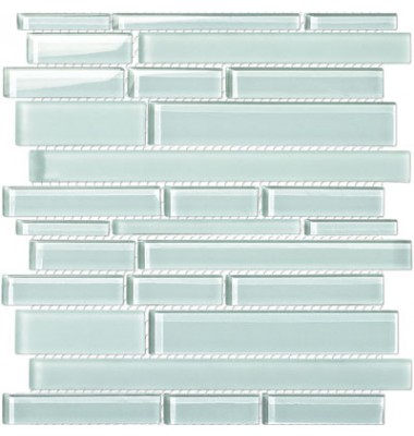 Glossy Frosted White Glass Stick Mosaic Tile Mesh Backed Sheet