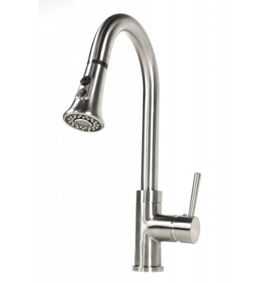 Lead Free Brushed Nickel Single Hole Pull Out Sprayer Kitchen Faucet