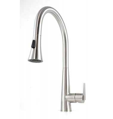 Eclipse Style Solid Stainless Steel Lead Free Single Handle Pull Out Sprayer Kitchen Mixer Faucet