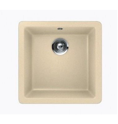 Beige Quartz Composite Single Bowl Undermount / Drop In Kitchen Sink - 17-11/16 x 16-15/16 x 8 Inch