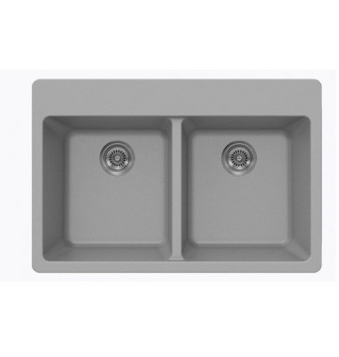 Chrome Quartz Composite Double Bowl Undermount / Drop In Kitchen Sink - 33 x 22 x 9 Inch
