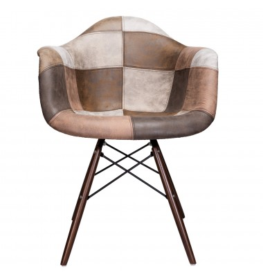 Mooku Brown Patchwork Leatherette Fabric Upholstered DAW Dining Accent Arm Chair with Dark Walnut Leg