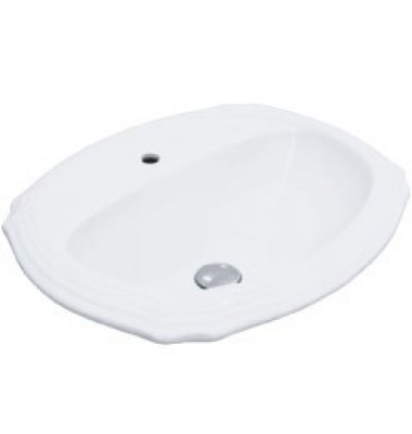 Porcelain Ceramic Vanity Drop In Bathroom Vessel Sink - 23 x 19-3/8 x 6-3/4 Inch