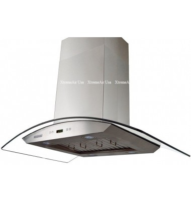 XtremeAIR 36 Inch Island Mount Curved Glass Stainless Steel Range Hood 900 CFM Pro-X Series PX01-I36