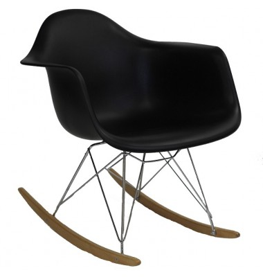 RAR Plastic Rocking Chair with Steel Eiffel Legs in Black