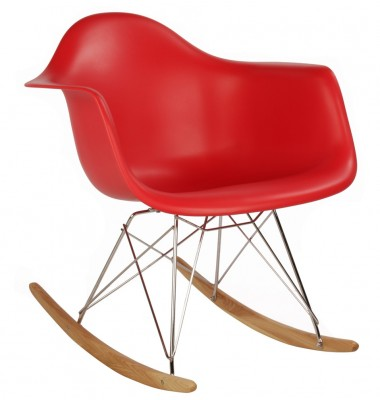 RAR Plastic Rocking Chair with Steel Eiffel Legs in Red