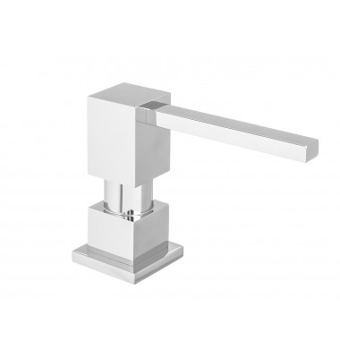 Square Shape All Metal Construction Deck / Countertop Mount Solid Brass Pump Hand / Dish Soap Dispenser Polish Chrome
