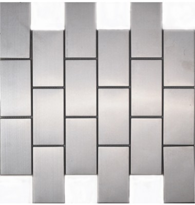 Block Shape Stainless Steel Mosaic Tile Mesh Backed Sheet