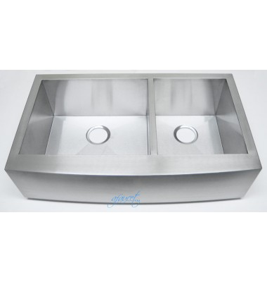 36 Inch Stainless Steel Curved Front Farm Apron Kitchen Sink - 60/40 Double Bowl 16 Gauge