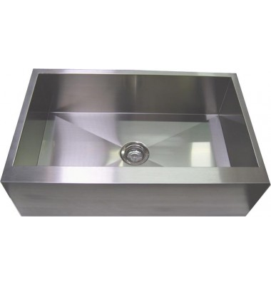 36 Inch Stainless Steel Single Bowl Flat Front Farm Apron