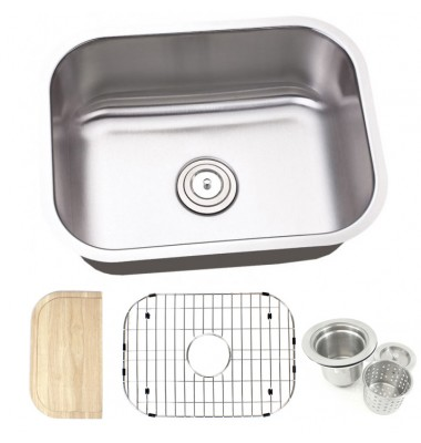 23 Inch Stainless Steel Undermount Single Bowl Kitchen Sink - 16 Gauge FREE ACCESSORIES