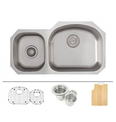 32 Inch Stainless Steel Undermount 40/60 Double D-Bowl Offset Kitchen Sink - 16 Gauge FREE ACCESSORIES
