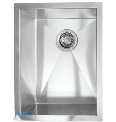 15 Inch Stainless Steel Undermount Single Bowl Kitchen / Bar / Prep Sink Zero Radius Design