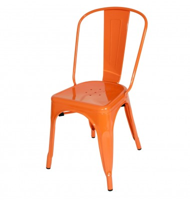 Tolix Style Metal Industrial Loft Designer Cafe Chair in Orange