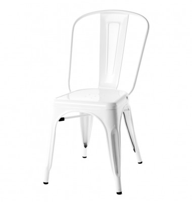 Tolix Style Metal Industrial Loft Designer Cafe Chair in White