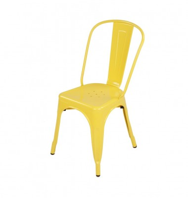 Tolix Style Metal Industrial Loft Designer Cafe Chair in Yellow