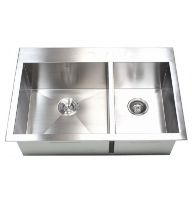 33 Inch Top-Mount / Drop-In Stainless Steel 60/40 Double Bowl Kitchen Sink Zero Radius Design