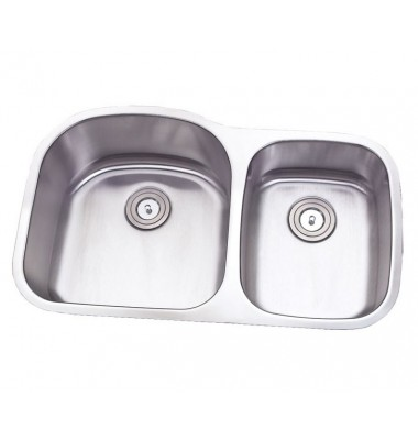 35 Inch Stainless Steel Undermount Double 60/40 D-Bowl Offset Kitchen Sink - 16 Gauge