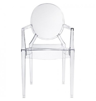 Louis Style Clear Color Ghost Dining Armchair