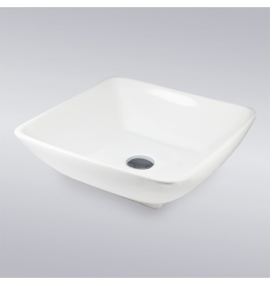 16.5 Inch White / Black Porcelain Ceramic Countertop Bathroom Vessel Sink