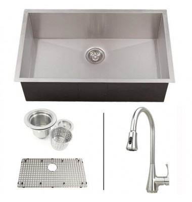 30 Inch Zero Radius Stainless Steel Undermount Single Bowl Kitchen Sink and Lead Free Faucet COMBO