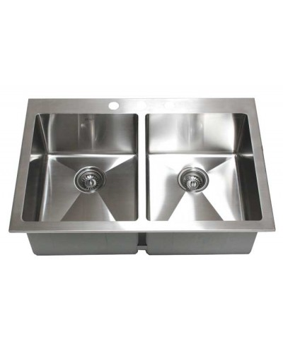 43 Inch Top-Mount / Drop-In Stainless Steel Double Bowl Kitchen ...