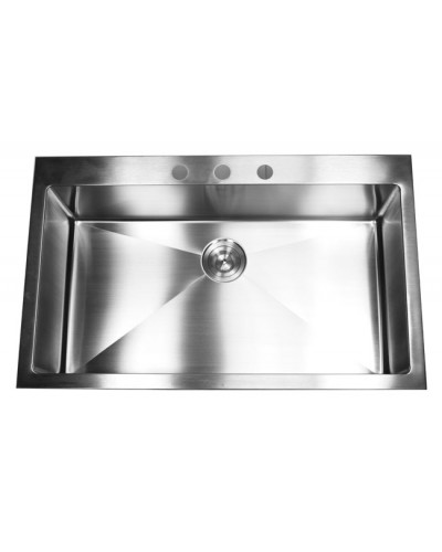 White Top Mount Kitchen Sink 33 inch top-mount / drop-in stainless steel single bowl kitchen sink