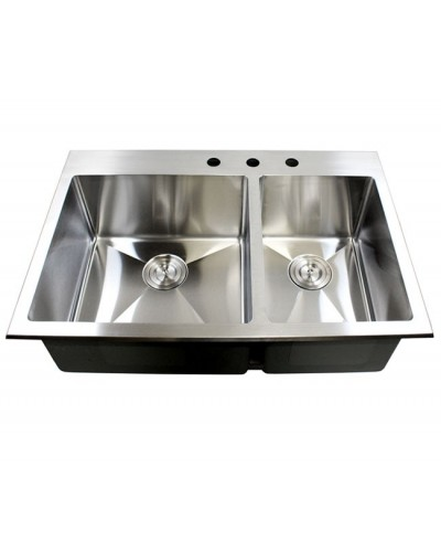 Medium image of 43 inch drop in stainless steel double bowl stainless steel kitchen sink 15mm radius design premium combo package