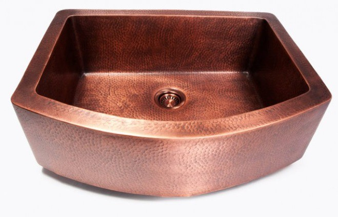 Hand hammered finish copper single bowl curved front farm apron hand hammered finish copper single bowl curved front farmhouse apron kitchen sink 33 x 24 12 x 10 inch workwithnaturefo
