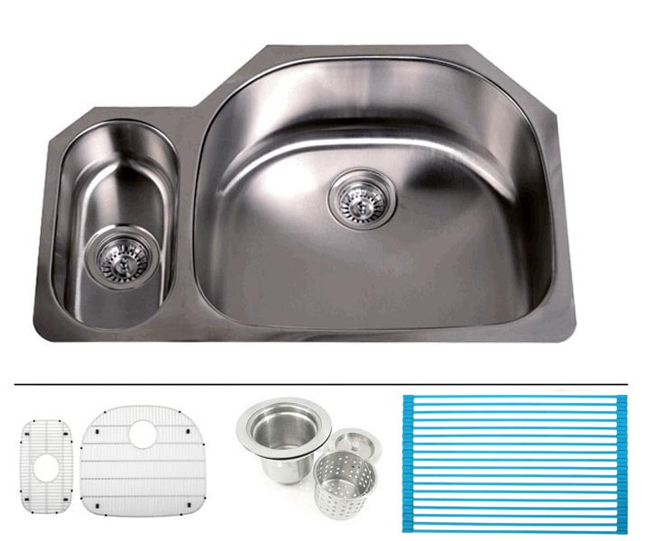 32 Inch Stainless Steel Undermount Double D Bowl Offset Kitchen Sink   16  Gauge FREE ACCESSORIES