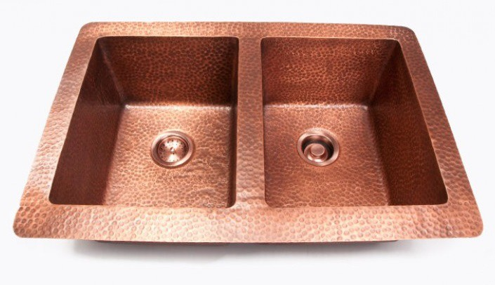 Hand hammered finish copper 5050 double bowl undermount drop in hand hammered finish copper 5050 double bowl undermount drop in kitchen sink 33 x 22 x 10 inch workwithnaturefo