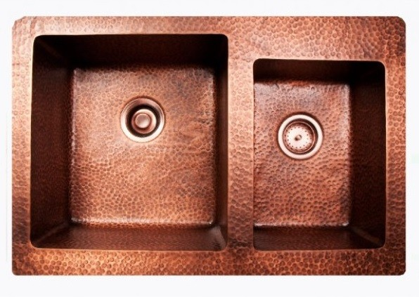 Hand Hammered Finish Copper 60 40 Double Bowl Undermount