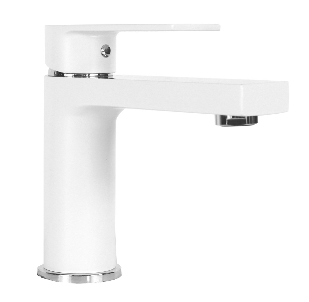 Anna Matte White With Chrome Handle Bathroom Vessel Sink