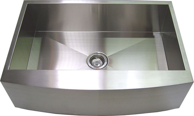 30 Inch Stainless Steel Curved Front Farm Apron Kitchen Sink   Single Bowl