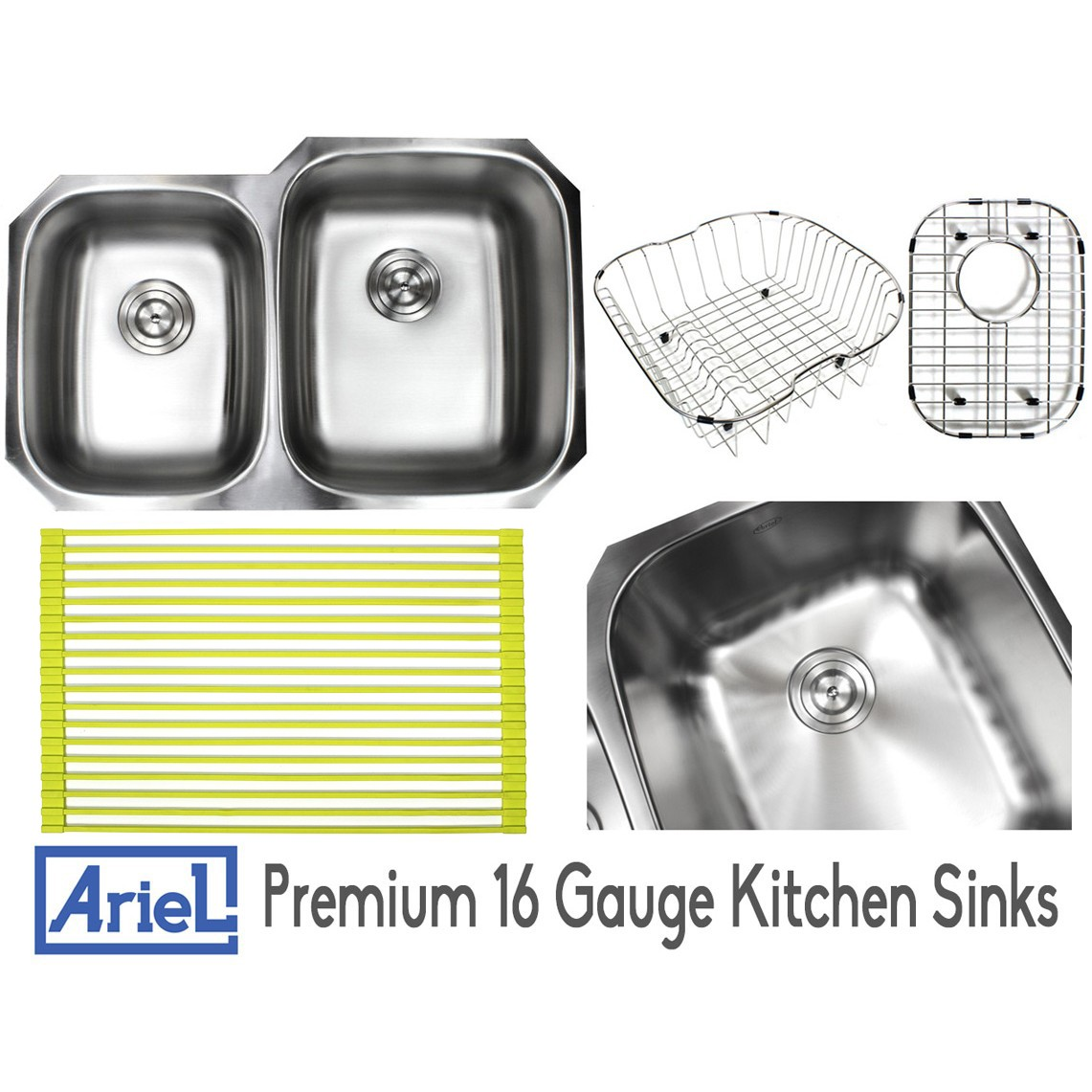 ariel pearl 32 inch premium 16 gauge stainless steel undermount 40 60 double bowl kitchen sink with free accessories ariel pearl 32 inch premium 16 gauge stainless steel undermount 40      rh   cbath com