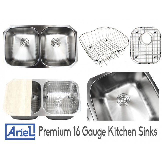 ariel pearl 32 inch premium 16 gauge stainless steel undermount 50 50 double bowl kitchen sink with free accessories ariel pearl 32 inch premium 16 gauge stainless steel undermount 50      rh   cbath com