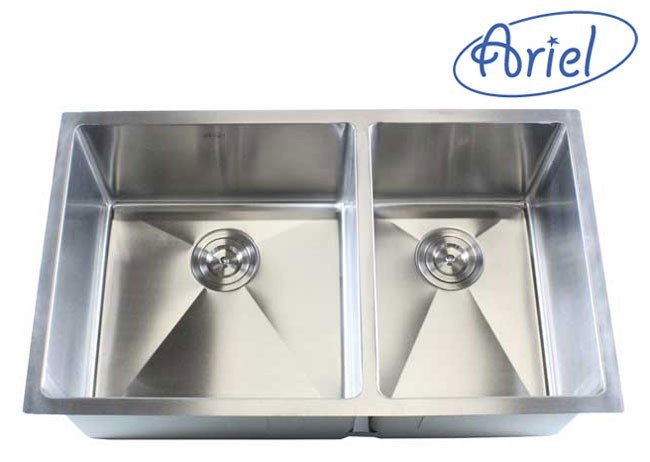 32 inch stainless steel undermount 60 40 double bowl kitchen sink   16 gauge ariel 32 inch stainless steel undermount 60 40 double bowl kitchen      rh   cbath com