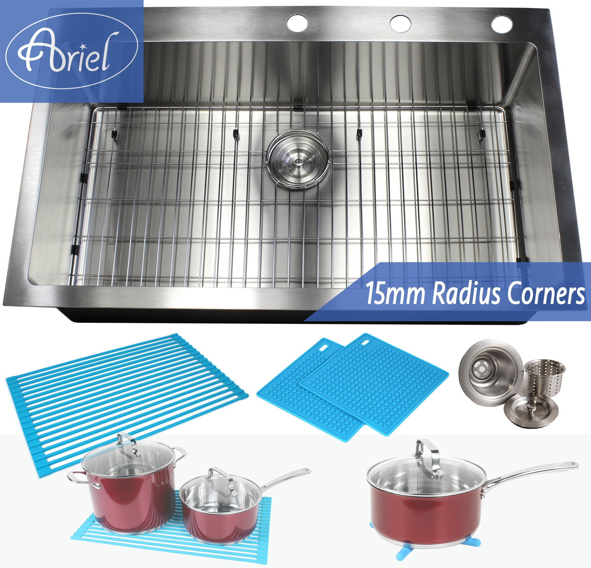 36 Inch Top Mount Drop In Stainless Steel Kitchen Sink 15mm