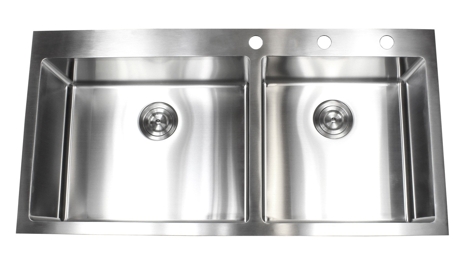 Medium image of 43 inch drop in stainless steel double bowl kitchen sink 15mm radius design