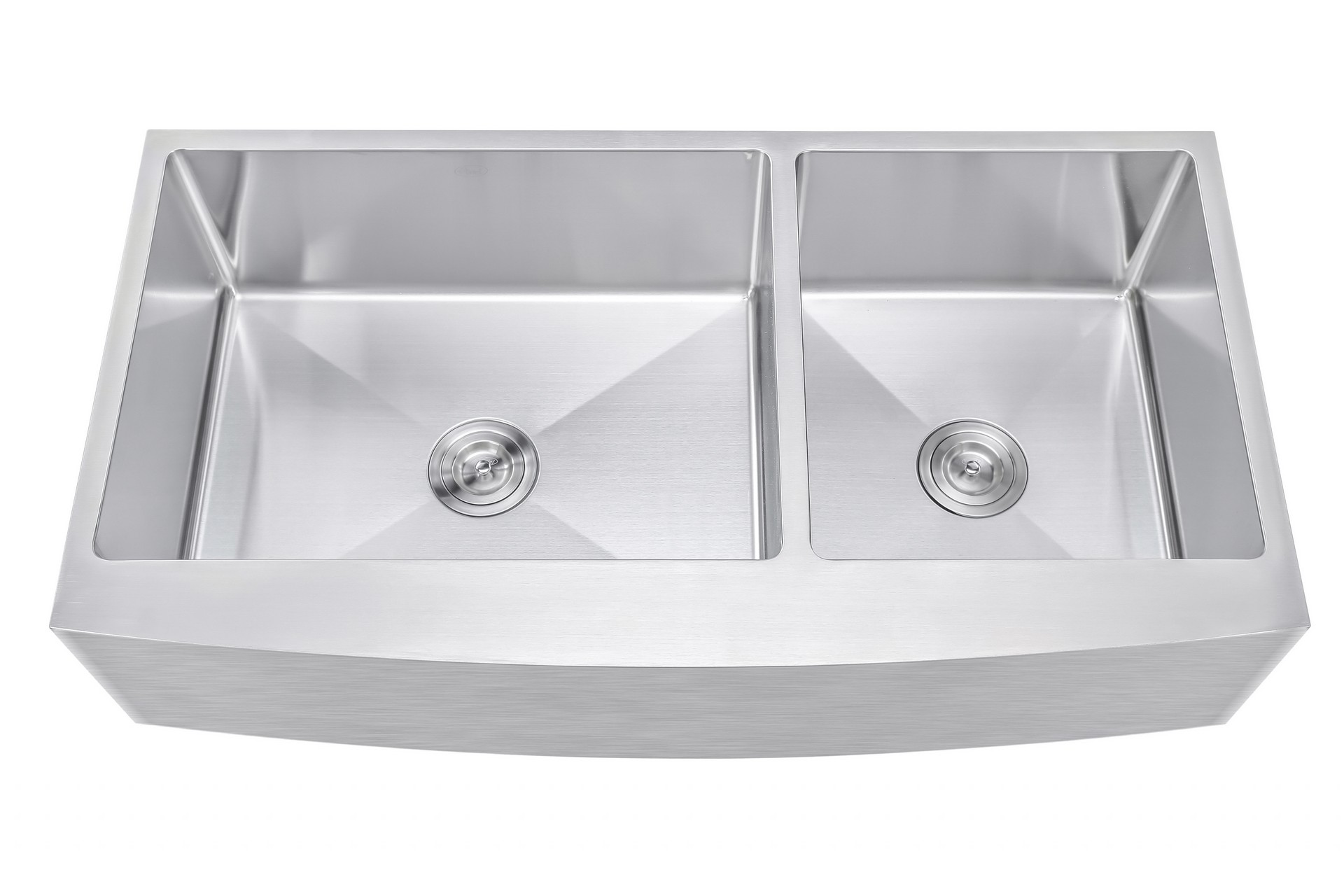 ariel 42 inch 60 40 offset double bowl farmhouse apron front stainless steel kitchen sink   15mm radius coved corners ariel 42 inch 60 40 offset double bowl farmhouse apron front      rh   cbath com