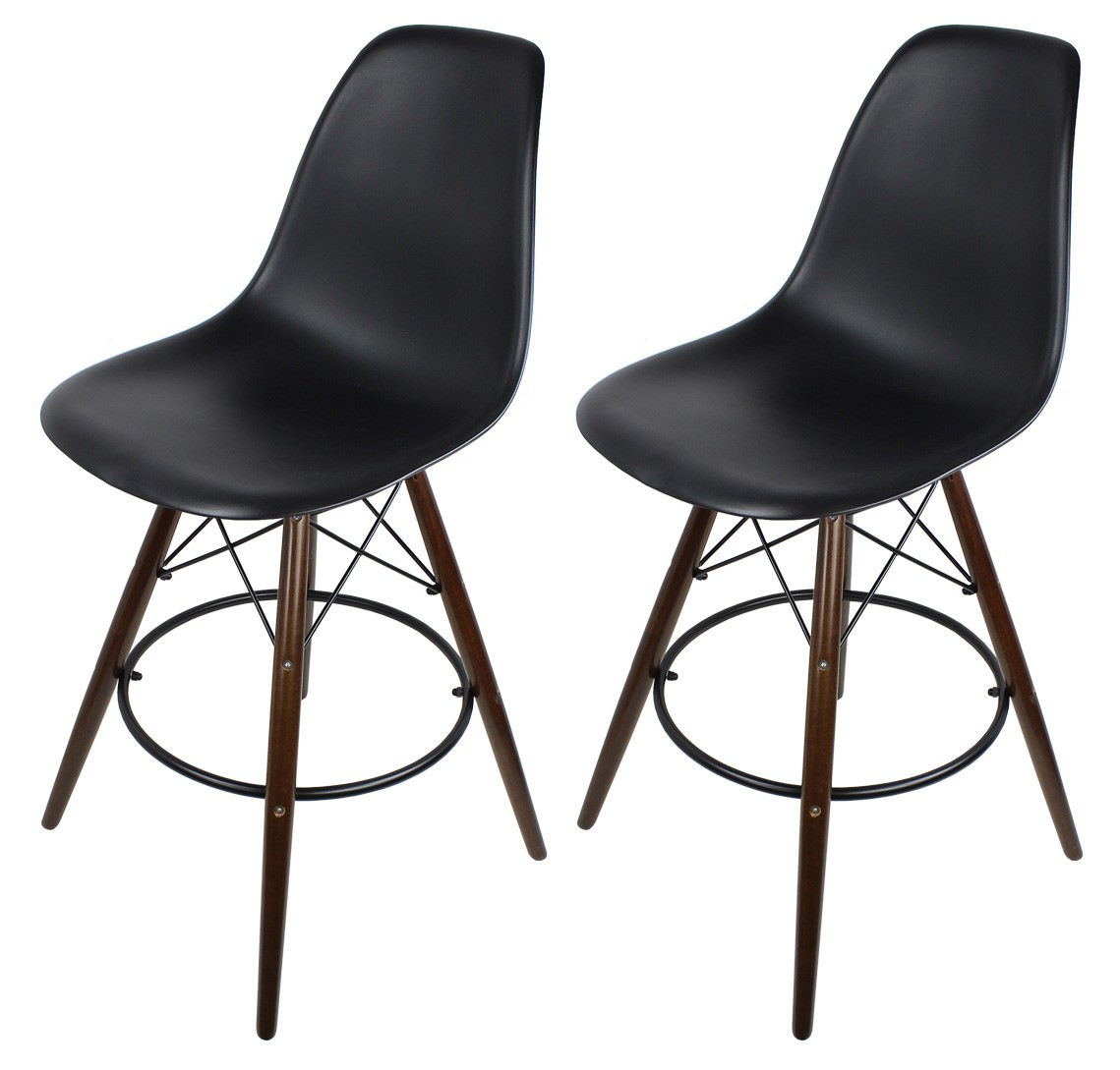 Amazing photo of Black Eames Style DSW Bar Stool with Dark Walnut Wood Eiffel Legs with #5D493D color and 1139x1089 pixels