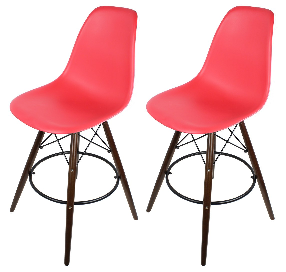 2 X Red Eames Style DSW Bar Stool with Dark Walnut Wood  : eames stools red dark legg1 from www.cbath.com size 1146 x 1089 jpeg 110kB