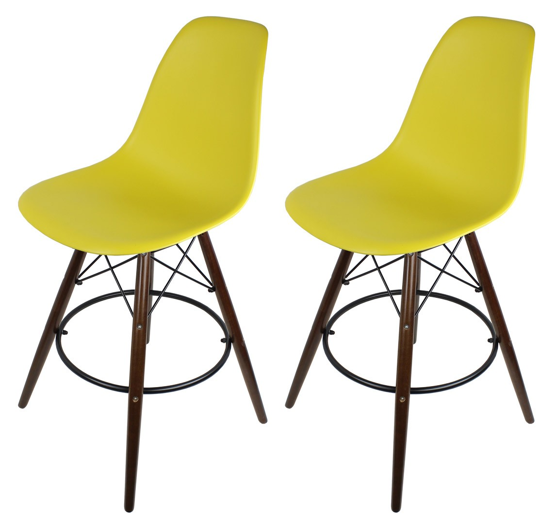 Marvelous photograph of  Yellow Eames Style DSW Bar Stool with Dark Walnut Wood Eiffel Legs with #A49927 color and 1146x1089 pixels