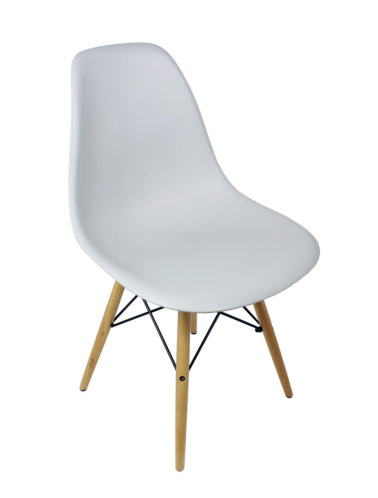 Eames Style DSW Dining Shell Chair With Wood Eiffel Legs In Light Gray