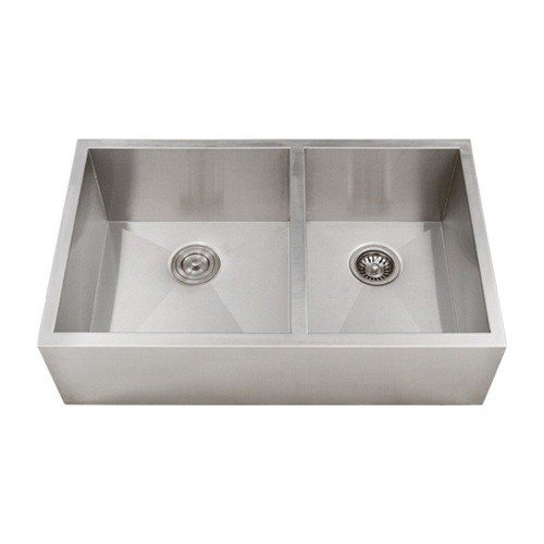 Shallow Depth Farmhouse Sink : ... Steel Narrow Flat Front Farmhouse Apron Kitchen Sink 60/40 Double Bowl