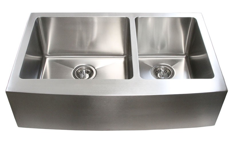 Apron Stainless Steel Sink : Stainless Steel Curved Front Farm Apron 60/40 Double Bowl Kitchen Sink ...